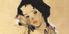 Chica desnuda de pie con el pelo negro - Schiele